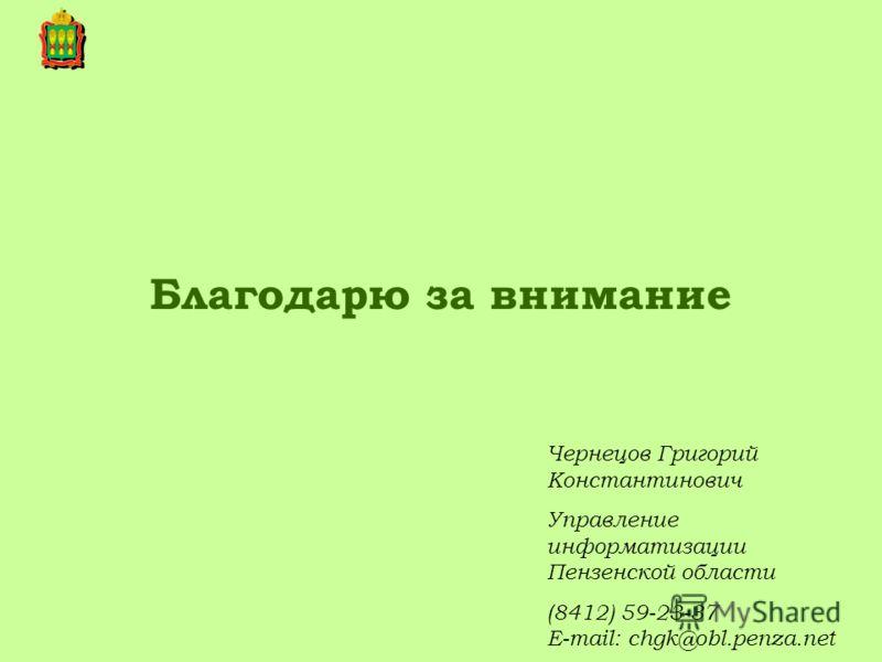 Благодарю за внимание Чернецов Григорий Константинович Управление информатизации Пензенской области (8412) 59-23-37 E-mail: chgk@obl.penza.net