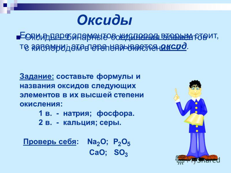 Оксиды Оксиды – бинарные соединения элементов с кислородом в степени окисления -2. Задание: составьте формулы и названия оксидов следующих элементов в их высшей степени окисления: 1 в. - натрия; фосфора. 2 в. - кальция; серы. Проверь себя: Na 2 O; P