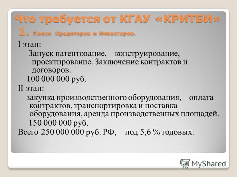 Что требуется от КГАУ «КРИТБИ» 1. Поиск Кредиторов и Инвесторов. I этап: Запуск патентование, конструирование, проектирование. Заключение контрактов и договоров. 100 000 000 руб. II этап: закупка производственного оборудования, оплата контрактов, тра