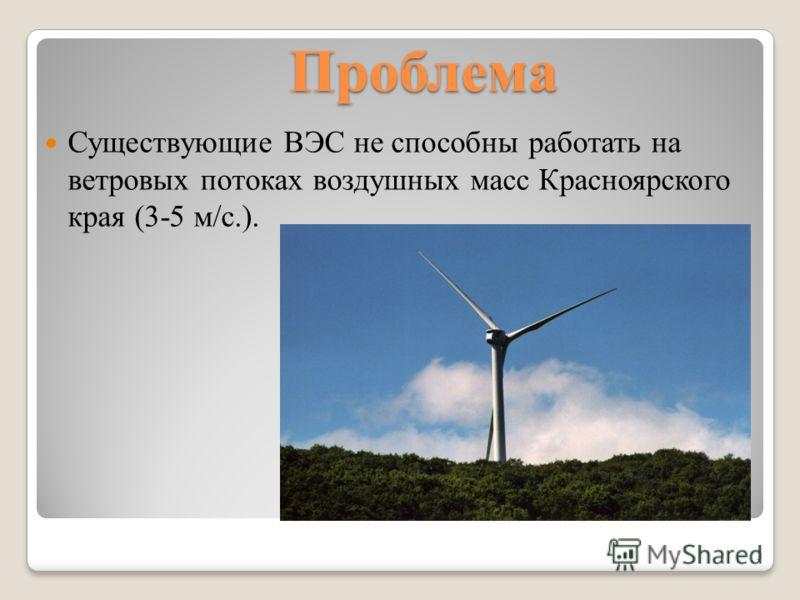 Проблема Существующие ВЭС не способны работать на ветровых потоках воздушных масс Красноярского края (3-5 м/с.). 3
