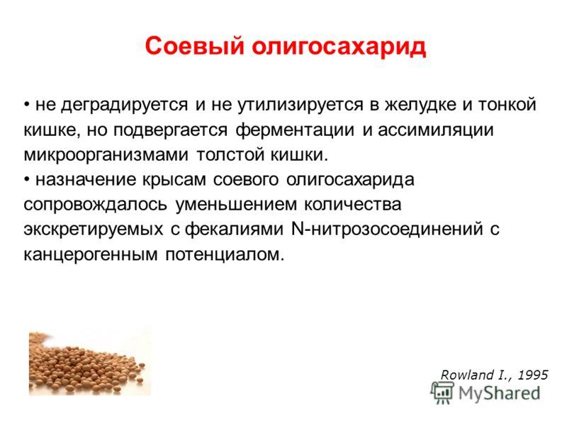 Соевый олигосахарид не деградируется и не утилизируется в желудке и тонкой кишке, но подвергается ферментации и ассимиляции микроорганизмами толстой кишки. назначение крысам соевого олигосахарида сопровождалось уменьшением количества экскретируемых с