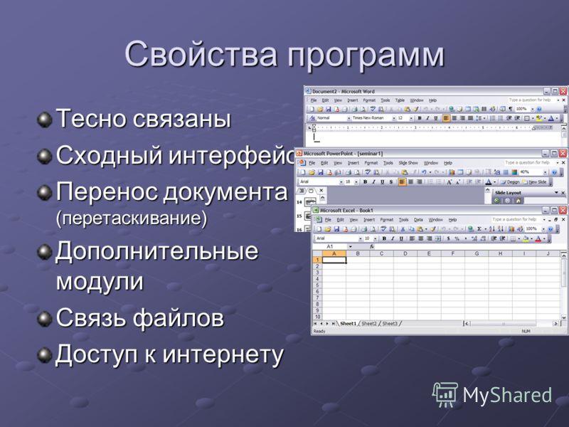 Свойства программ Тесно связаны Сходный интерфейс Перенос документа (перетаскивание) Дополнительные модули Связь файлов Доступ к интернету