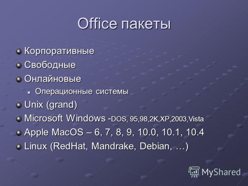 Office пакеты КорпоративныеСвободныеОнлайновые Операционные системы Операционные системы Unix (grand) Microsoft Windows - DOS, 95,98,2K,XP,2003,Vista Apple MacOS – 6, 7, 8, 9, 10.0, 10.1, 10.4 Linux (RedHat, Mandrake, Debian, …)