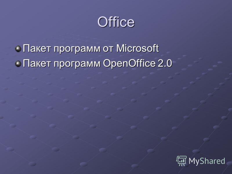 Office Пакет программ от Microsoft Пакет программ OpenOffice 2.0