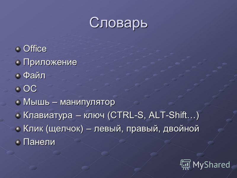 Словарь OfficeПриложениеФайлОС Мышь – манипулятор Клавиатура – ключ (CTRL-S, ALT-Shift…) Клик (щелчок) – левый, правый, двойной Панели