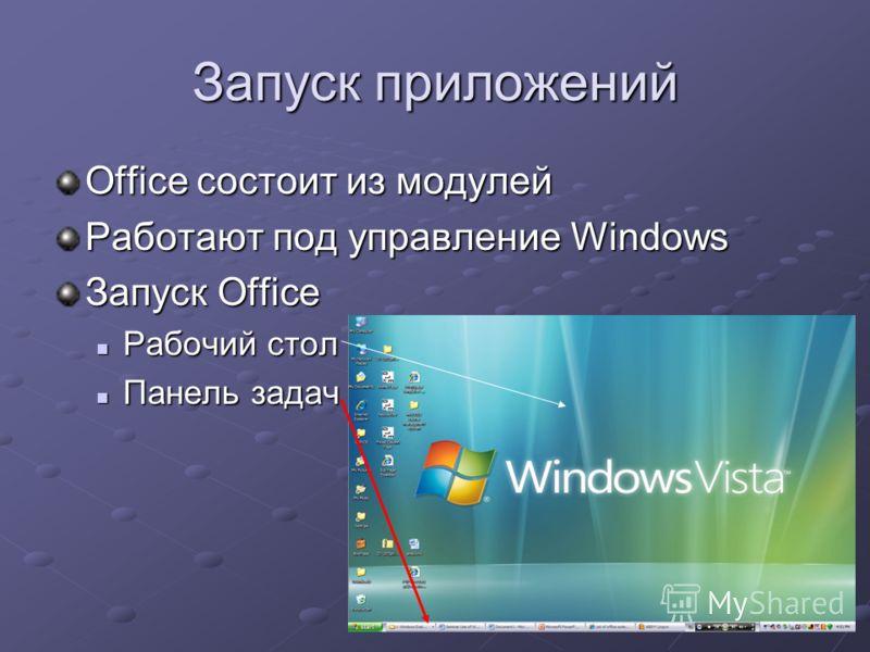 Запуск приложений Office состоит из модулей Работают под управление Windows Запуск Office Рабочий стол Рабочий стол Панель задач Панель задач