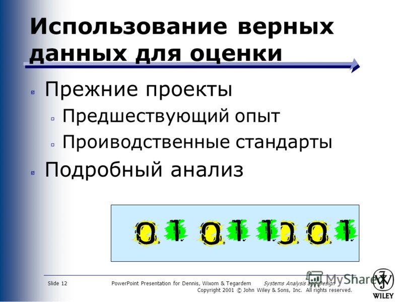 PowerPoint Presentation for Dennis, Wixom & Tegardem Systems Analysis and Design Copyright 2001 © John Wiley & Sons, Inc. All rights reserved. Slide 12 Использование верных данных для оценки Прежние проекты Предшествующий опыт Проиводственные стандар