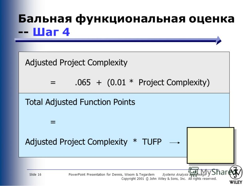PowerPoint Presentation for Dennis, Wixom & Tegardem Systems Analysis and Design Copyright 2001 © John Wiley & Sons, Inc. All rights reserved. Slide 16 Бальная функциональная оценка -- Шаг 4 Adjusted Project Complexity =.065 + (0.01 * Project Complex