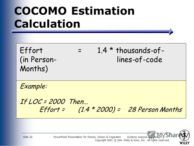 PowerPoint Presentation for Dennis, Wixom & Tegardem Systems Analysis and Design Copyright 2001 © John Wiley & Sons, Inc. All rights reserved. Slide 20 COCOMO Estimation Calculation Effort =1.4 * thousands-of- (in Person-lines-of-code Months) Example