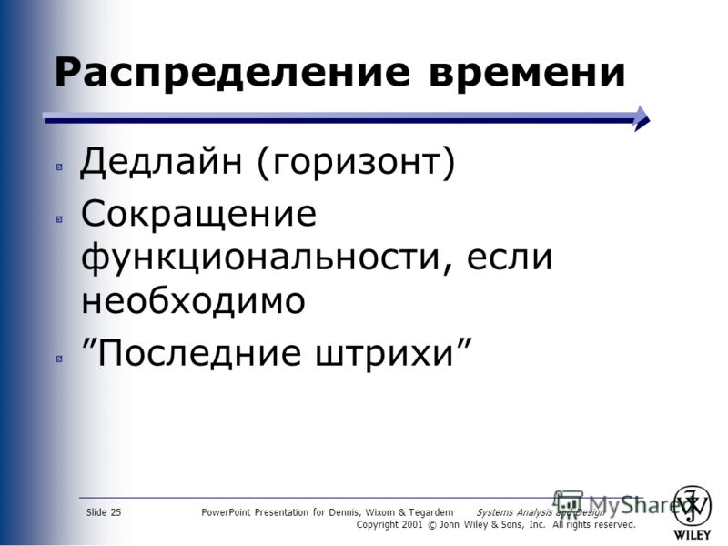 PowerPoint Presentation for Dennis, Wixom & Tegardem Systems Analysis and Design Copyright 2001 © John Wiley & Sons, Inc. All rights reserved. Slide 25 Распределение времени Дедлайн (горизонт) Сокращение функциональности, если необходимо Последние шт