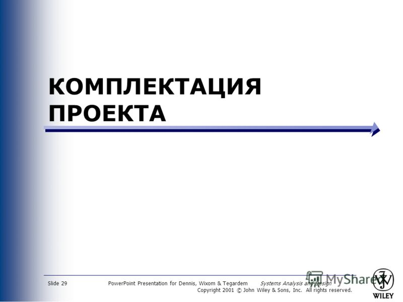 PowerPoint Presentation for Dennis, Wixom & Tegardem Systems Analysis and Design Copyright 2001 © John Wiley & Sons, Inc. All rights reserved. Slide 29 КОМПЛЕКТАЦИЯ ПРОЕКТА