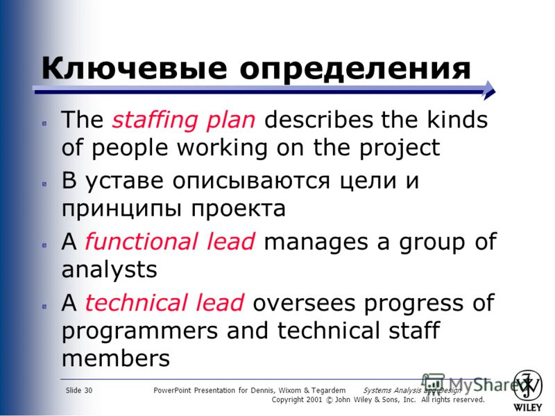 PowerPoint Presentation for Dennis, Wixom & Tegardem Systems Analysis and Design Copyright 2001 © John Wiley & Sons, Inc. All rights reserved. Slide 30 Ключевые определения The staffing plan describes the kinds of people working on the project В уста