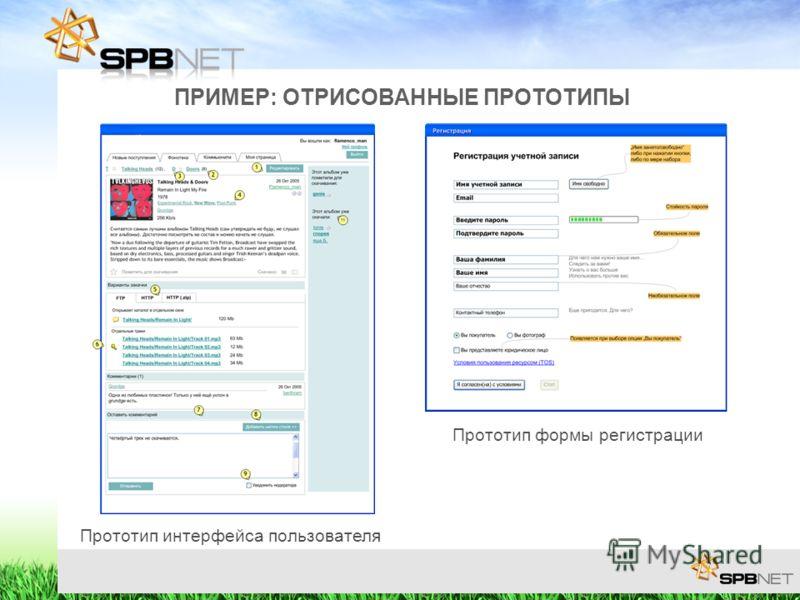 ПРИМЕР: ОТРИСОВАННЫЕ ПРОТОТИПЫ Прототип интерфейса пользователя Прототип формы регистрации