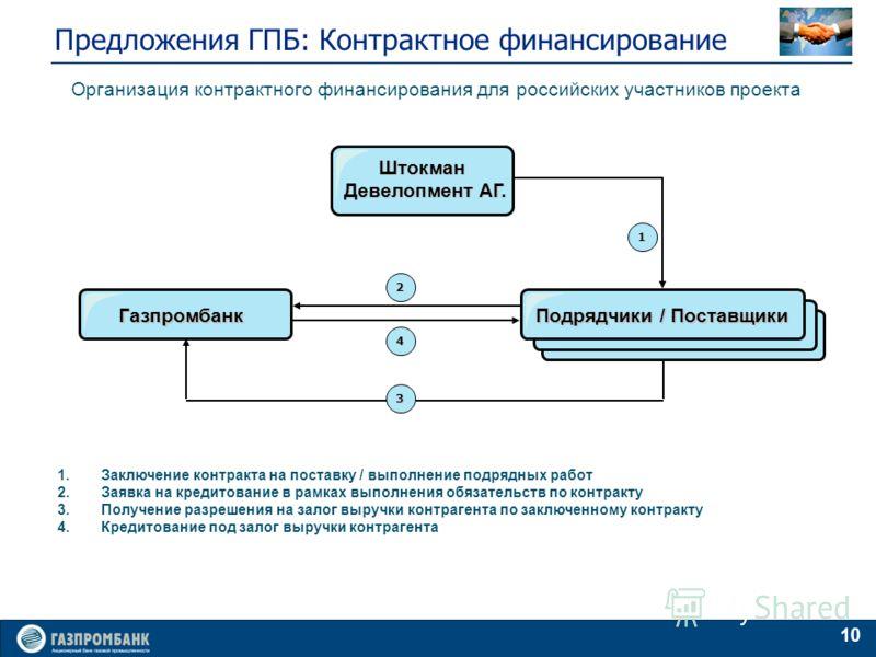 10 Предложения ГПБ: Контрактное финансирование Штокман Девелопмент АГ. 1.Заключение контракта на поставку / выполнение подрядных работ 2.Заявка на кредитование в рамках выполнения обязательств по контракту 3.Получение разрешения на залог выручки конт