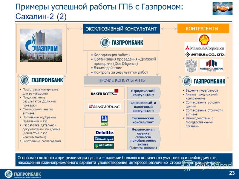 23 Основные сложности при реализации сделки – наличие большого количества участников и необходимость нахождения взаимоприемлемого варианта удовлетворения интересов различных сторон в кратчайшие сроки Примеры успешной работы ГПБ с Газпромом: Сахалин-2