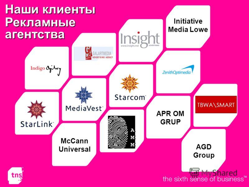 Рекламныеагентства APR OM GRUP Initiative Media Lowe McCann Universal AGDGroup Наши клиенты