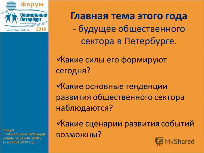 Главная тема этого года - будущее общественного сектора в Петербурге. Какие силы его формируют сегодня? Какие основные тенденции развития общественного сектора наблюдаются? Какие сценарии развития событий возможны?