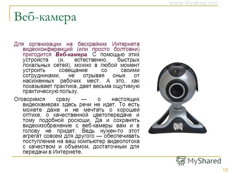 13 Веб-камера Для организации на бескрайних Интернета видеоконференций (или просто болтовни) пригодится Веб-камера. С помощью этих устройств (и, естественно, быстрых локальных сетей), можно в любой момент устроить совещание со своими сотрудниками, не