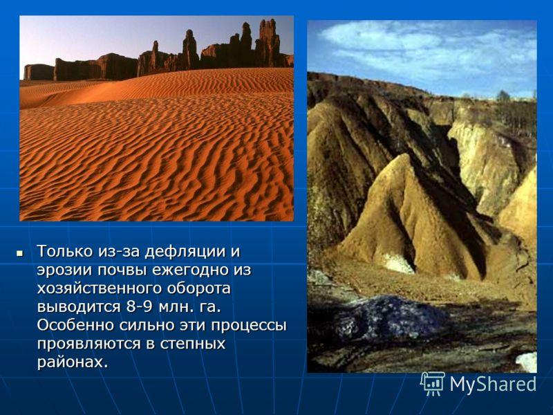 Только из-за дефляции и эрозии почвы ежегодно из хозяйственного оборота выводится 8-9 млн. га. Особенно сильно эти процессы проявляются в степных райо