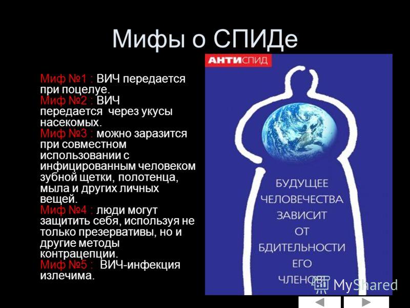 Мифы о СПИДе Миф 1 : ВИЧ передается при поцелуе. Миф 2 : ВИЧ передается через укусы насекомых. Миф 3 : можно заразится при совместном использовании с инфицированным человеком зубной щетки, полотенца, мыла и других личных вещей. Миф 4 : люди могут защ