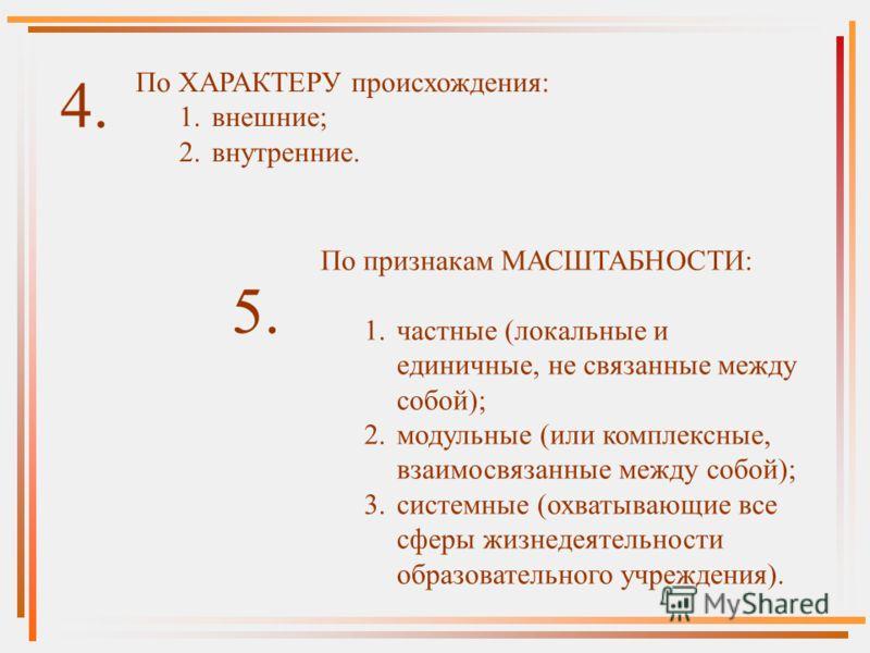 По ХАРАКТЕРУ происхождения: 1.внешние; 2.внутренние. 4. По признакам МАСШТАБНОСТИ: 1.частные (локальные и единичные, не связанные между собой); 2.модульные (или комплексные, взаимосвязанные между собой); 3.системные (охватывающие все сферы жизнедеяте