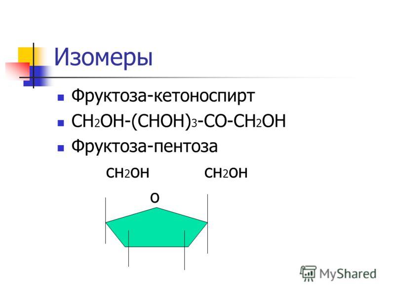 Изомеры Фруктоза-кетоноспирт СН 2 ОН-(СНОН) 3 -СО-СН 2 ОН Фруктоза-пентоза сн 2 он сн 2 он о
