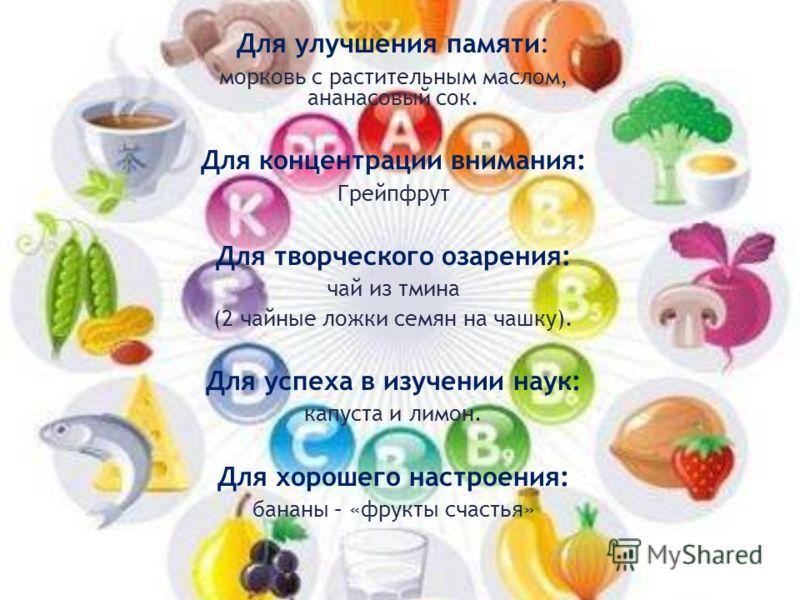 Для улучшения памяти: морковь с растительным маслом, ананасовый сок. Для концентрации внимания: Грейпфрут Для творческого озарения: чай из тмина (2 чайные ложки семян на чашку). Для успеха в изучении наук: капуста и лимон. Для хорошего настроения: ба