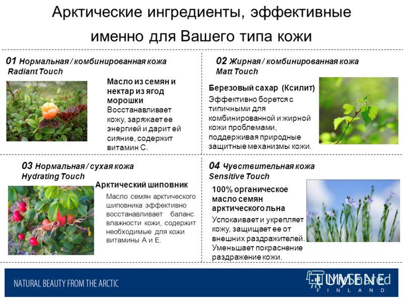 Арктические ингредиенты, эффективные именно для Вашего типа кожи Березовый сахар (Ксилит) Эффективно борется с типичными для комбинированной и жирной кожи проблемами, поддерживая природные защитные механизмы кожи. 100% органическое масло семян арктич