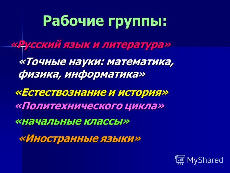 Рабочие группы: «Русский язык и литература» «Точные науки: математика, физика, информатика» «Естествознание и история» «Политехнического цикла» «начальные классы» «Иностранные языки»