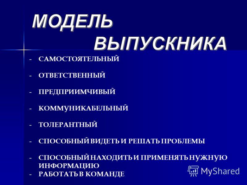 - САМОСТОЯТЕЛЬНЫЙ - ОТВЕТСТВЕННЫЙ - ПРЕДПРИИМЧИВЫЙ - КОММУНИКАБЕЛЬНЫЙ - ТОЛЕРАНТНЫЙ - СПОСОБНЫЙ ВИДЕТЬ И РЕШАТЬ ПРОБЛЕМЫ - СПОСОБНЫЙ НАХОДИТЬ И ПРИМЕНЯТЬ НУЖНУЮ ИНФОРМАЦИЮ - РАБОТАТЬ В КОМАНДЕ