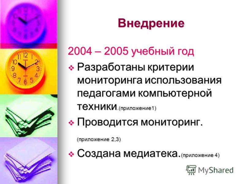 Внедрение 2004 – 2005 учебный год Разработаны критерии мониторинга использования педагогами компьютерной техники.(приложение1) Разработаны критерии мониторинга использования педагогами компьютерной техники.(приложение1) Проводится мониторинг. Проводи