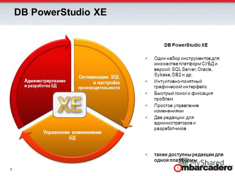 8 Оптимизация SQL и настройка производительности Управление изменениями БД А дминистрирование и разработка БД DB PowerStudio XE Один набор инструментов для множества платформ СУБД и версий: SQL Server, Oracle, Sybase, DB2 и др. Интуитивно-понятный гр