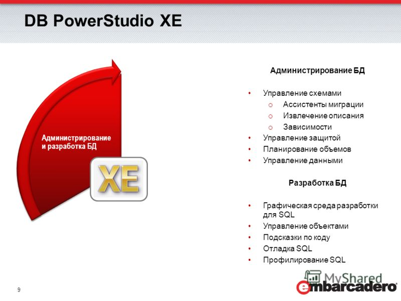 9 DB PowerStudio XE Администрирование и разработка БД Администрирование БД Управление схемами o Ассистенты миграции o Извлечение описания o Зависимости Управление защитой Планирование объемов Управление данными Разработка БД Графическая среда разрабо