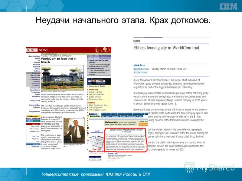 Университетские программы IBM для России и СНГ Неудачи начального этапа. Крах доткомов.