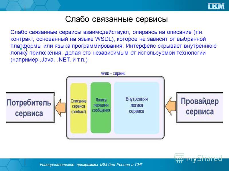 Университетские программы IBM для России и СНГ Слабо связанные сервисы ) Слабо связанные сервисы взаимодействуют, опираясь на описание (т.н. контракт, основанный на языке WSDL), которое не зависит от выбранной платформы или языка программирования. Ин