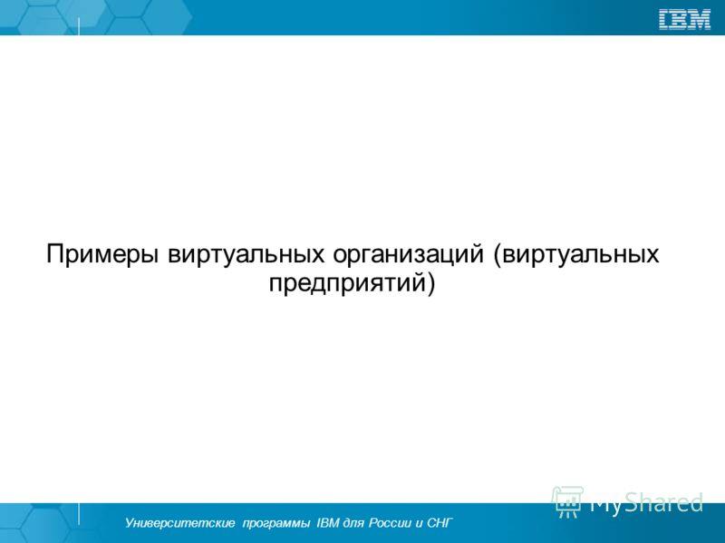 Университетские программы IBM для России и СНГ Примеры виртуальных организаций (виртуальных предприятий)