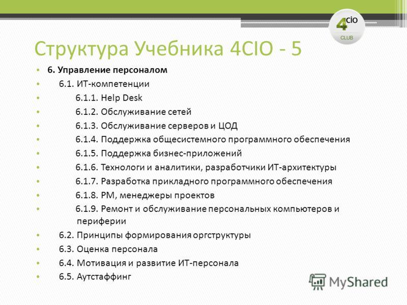 Структура Учебника 4CIO - 5 6. Управление персоналом 6.1. ИТ-компетенции 6.1.1. Help Desk 6.1.2. Обслуживание сетей 6.1.3. Обслуживание серверов и ЦОД 6.1.4. Поддержка общесистемного программного обеспечения 6.1.5. Поддержка бизнес-приложений 6.1.6.