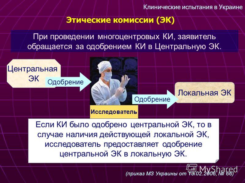 Клинические испытания в Украине Этические комиссии (ЭК) При проведении многоцентровых КИ, заявитель обращается за одобрением КИ в Центральную ЭК. (приказ МЗ Украины от 13.02.2006, 66) Локальная ЭК Исследователь Если КИ было одобрено центральной ЭК, т