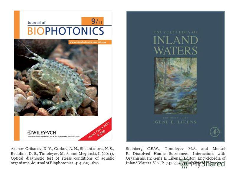 Axenov-Gribanov, D. V., Gurkov, A. N., Shakhtanova, N. S., Bedulina, D. S., Timofeyev, M. A. and Meglinski, I. (2011), Optical diagnostic test of stress conditions of aquatic organisms. Journal of Biophotonics, 4: 4: 619–626. Steinberg C.E.W., Timofe