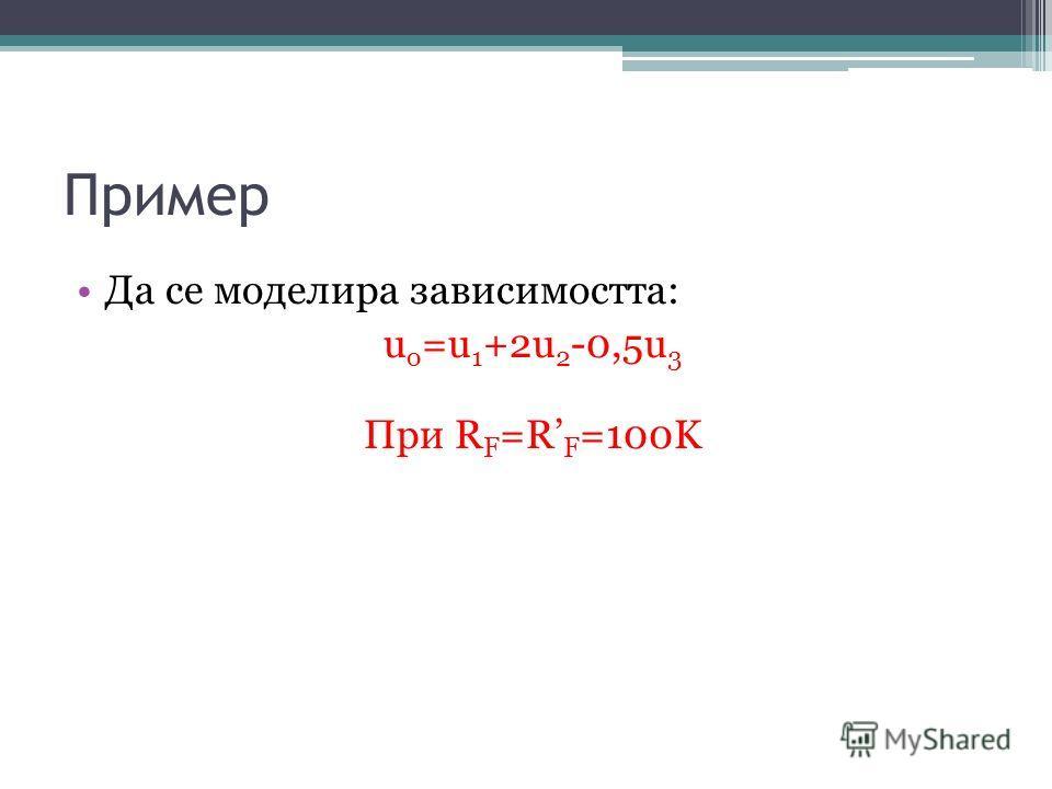 Пример Да се моделира зависимостта: u o =u 1 +2u 2 -0,5u 3 При R F =R F =100K