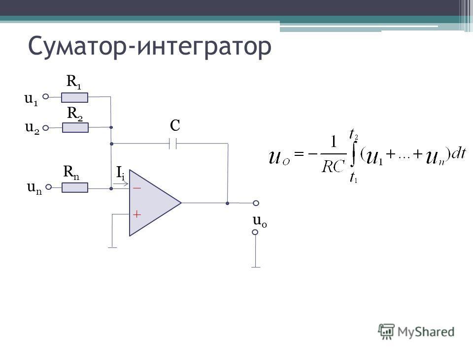 Суматор-интегратор unun C RnRn IiIi uouo R1R1 R2R2 u1u1 u2u2