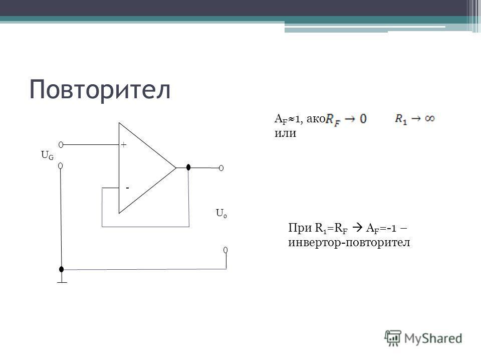 Повторител - + UoUo UGUG A F 1, ако или При R 1 =R F A F =-1 – инвертор-повторител