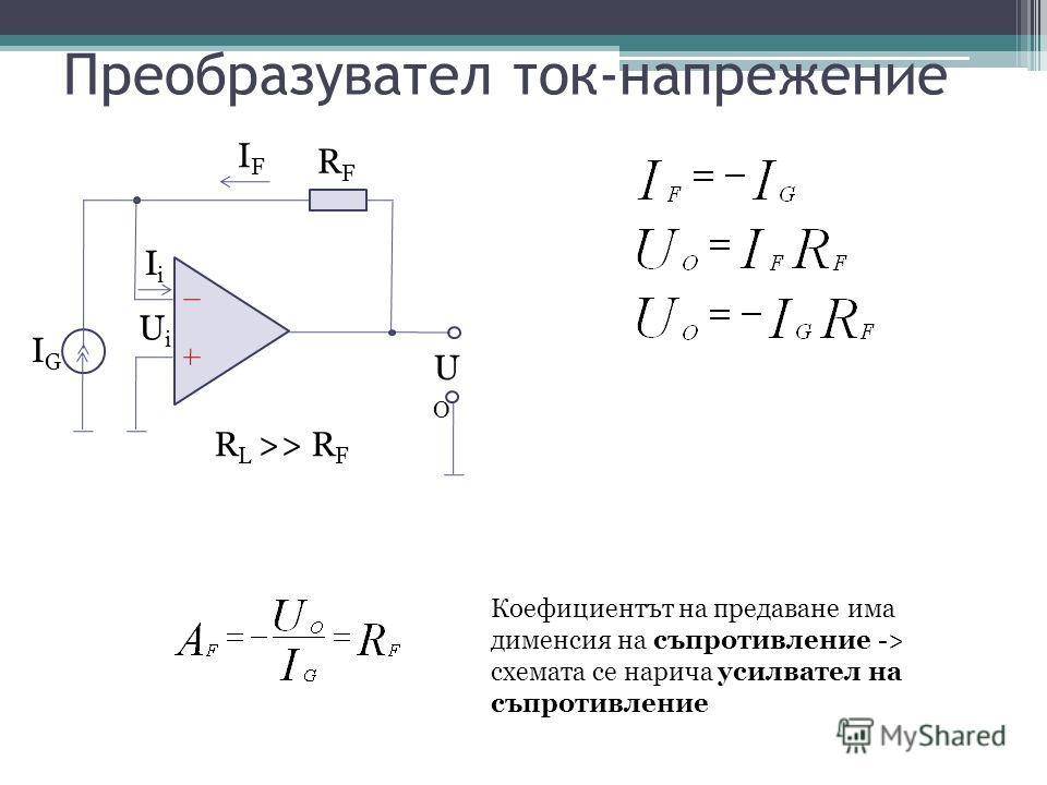 Преобразувател ток-напрежение IGIG UiUi IFIF RFRF R L >> R F IiIi UOUO Коефициентът на предаване има дименсия на съпротивление -> схемата се нарича усилвател на съпротивление