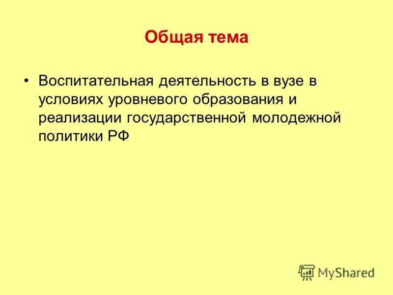 Общая тема Воспитательная деятельность в вузе в условиях уровневого образования и реализации государственной молодежной политики РФ