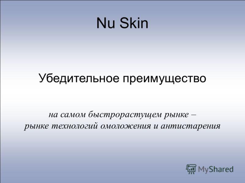 Nu Skin Убедительное преимущество на самом быстрорастущем рынке – рынке технологий омоложения и антистарения