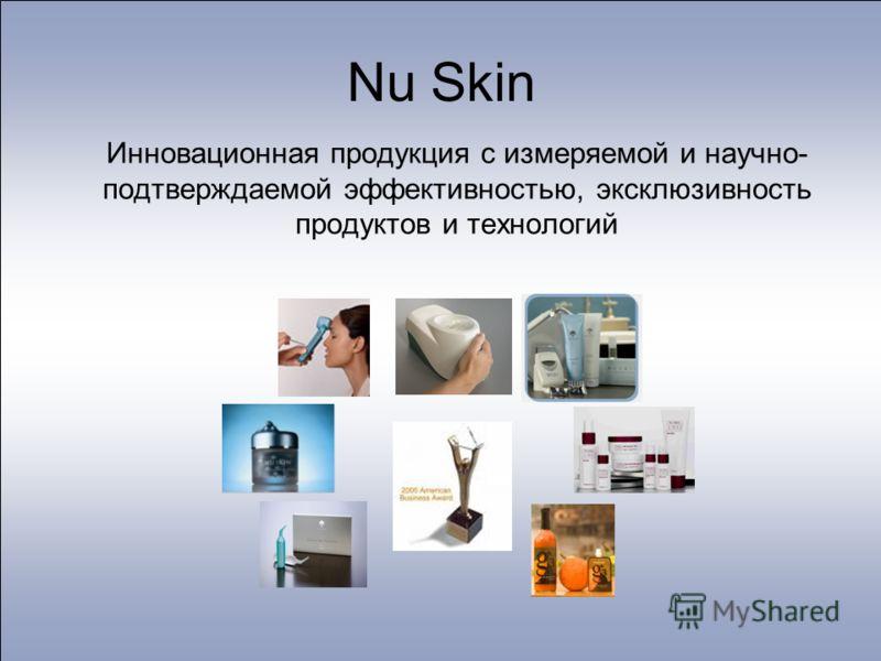 Nu Skin Инновационная продукция с измеряемой и научно- подтверждаемой эффективностью, эксклюзивность продуктов и технологий