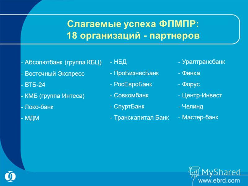 Слагаемые успеха ФПМПР: 18 организаций - партнеров - Абсолютбанк (группа КБЦ) - Восточный Экспресс - ВТБ-24 - КМБ (группа Интеса) - Локо-банк - МДМ - НБД - ПроБизнесБанк - РосЕвроБанк - Совкомбанк - СпуртБанк - Транскапитал Банк - Уралтрансбанк - Фин