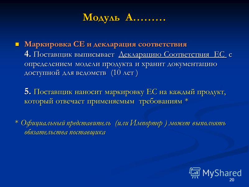 20 Модуль A……… Маркировка CE и декларация соответствия 4. Поставщик выписывает Декларацию Соответствия ЕС с определением модели продукта и хранит документацию доступной для ведомств (10 лет ) 5. Поставщик наносит маркировку ЕС на каждый продукт, кото