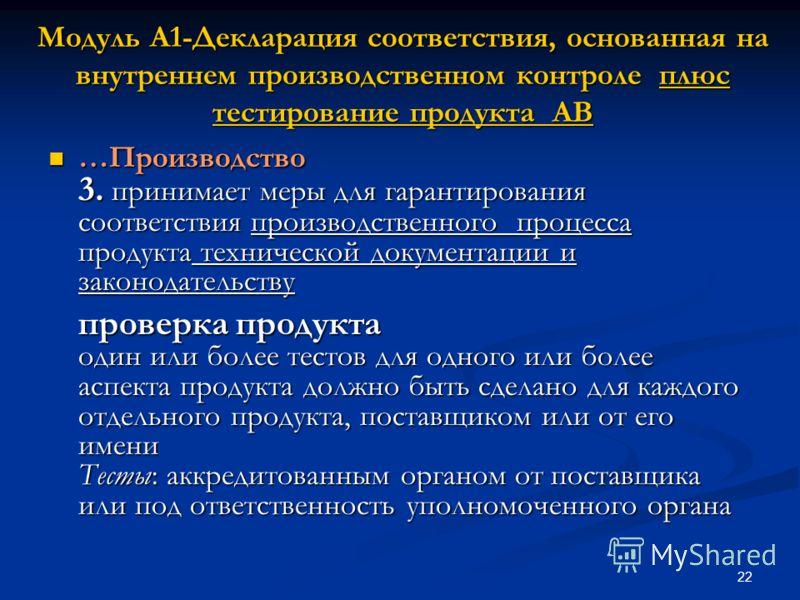 22 Модуль A1-Декларация соответствия, основанная на внутреннем производственном контроле плюс тестирование продукта AB …Производство 3. принимает меры для гарантирования соответствия производственного процесса продукта технической документации и зако