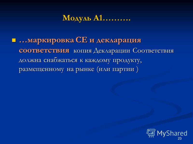 23 Модуль A1………. …маркировка CE и декларация соответствия копия Декларации Соответствия должна снабжаться к каждому продукту, размещенному на рынке (или партии ) …маркировка CE и декларация соответствия копия Декларации Соответствия должна снабжаться